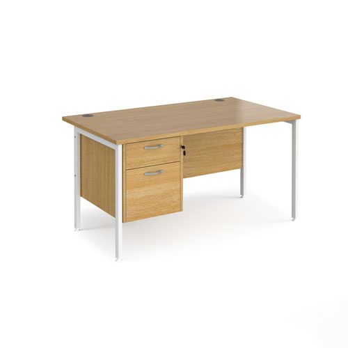 Maestro 25 straight desk 1400mm x 800mm with 2 drawer pedestal - white H-frame leg and oak top