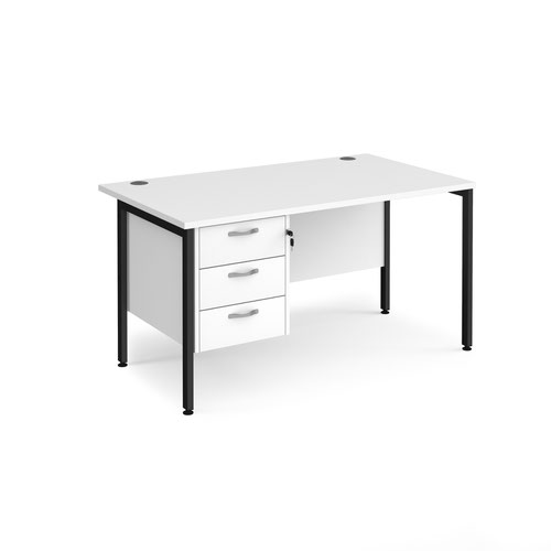 Maestro 25 straight desk 1400mm x 800mm with 3 drawer pedestal - black H-frame leg and white top