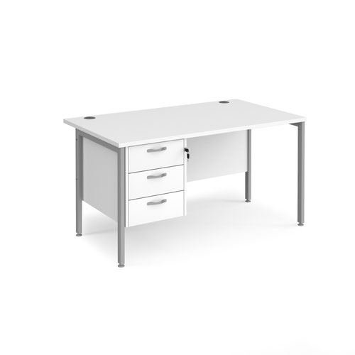 Maestro 25 straight desk 1400mm x 800mm with 3 drawer pedestal - silver H-frame leg and white top