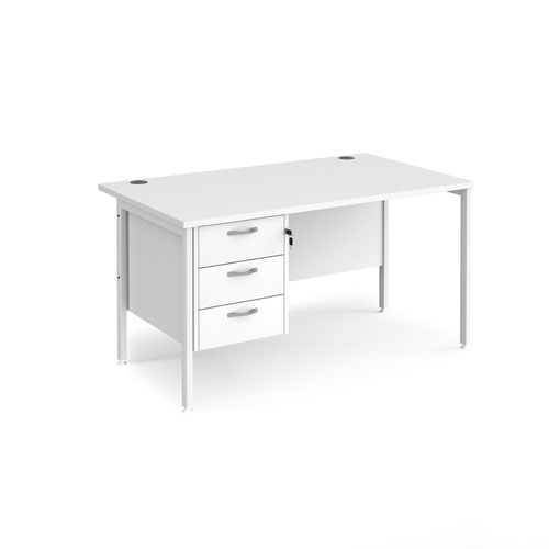 Maestro 25 straight desk 1400mm x 800mm with 3 drawer pedestal - white H-frame leg and white top