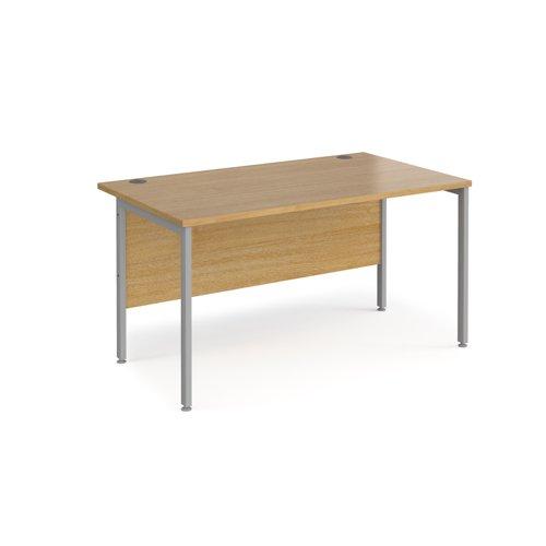 Maestro 25 straight desk 1400mm x 800mm - silver H-frame leg and oak top