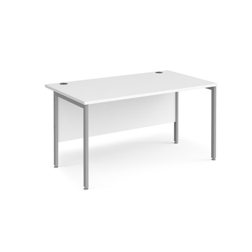 Maestro 25 straight desk 1400mm x 800mm - silver H-frame leg and white top