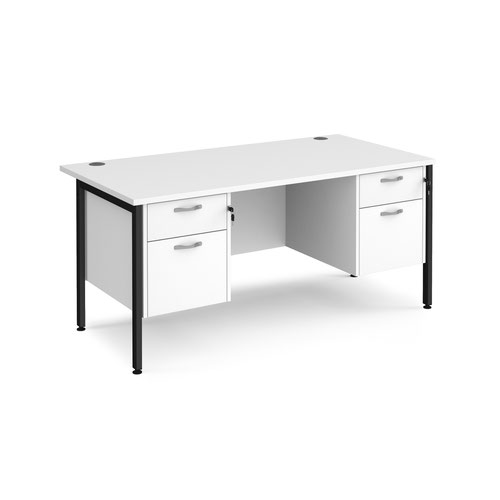Maestro 25 straight desk 1600mm x 800mm with two x 2 drawer pedestals - black H-frame leg and white top