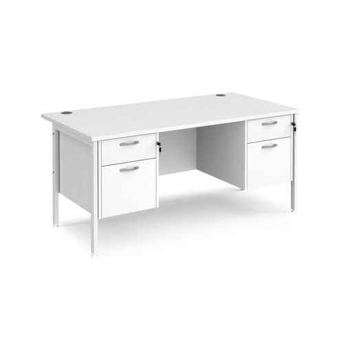 Maestro 25 straight desk 1600mm x 800mm with two x 2 drawer pedestals - white H-frame leg and white top