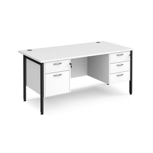 Maestro 25 straight desk 1600mm x 800mm with 2 and 3 drawer pedestals - black H-frame leg and white top