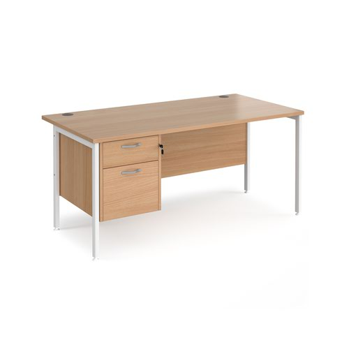 Maestro 25 straight desk 1600mm x 800mm with 2 drawer pedestal - white H-frame leg and beech top