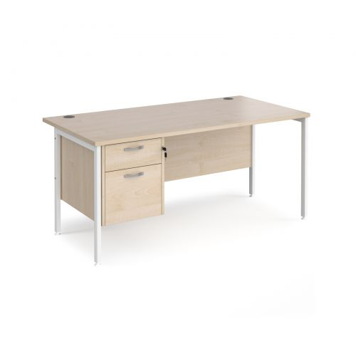 Maestro 25 straight desk 1600mm x 800mm with 2 drawer pedestal - white H-frame leg and maple top