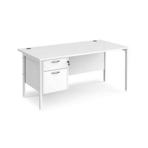 Maestro 25 straight desk 1600mm x 800mm with 2 drawer pedestal - white H-frame leg and white top