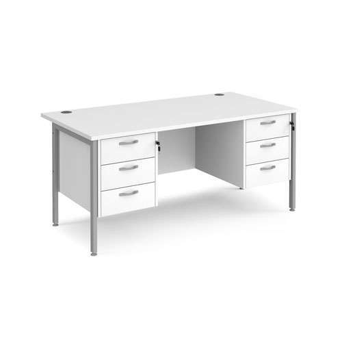 Maestro 25 straight desk 1600mm x 800mm with two x 3 drawer pedestals - silver H-frame leg and white top