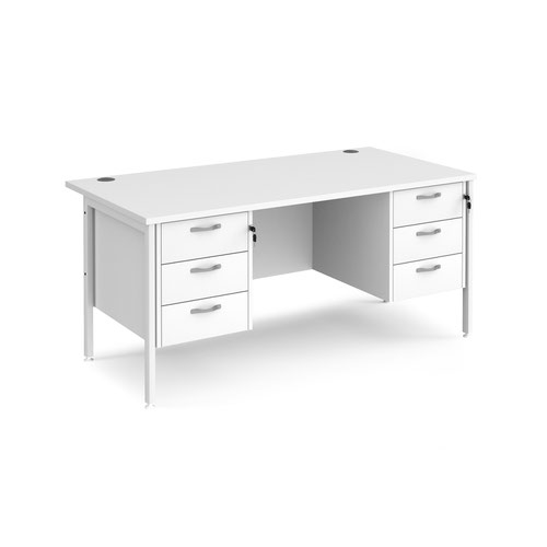 Maestro 25 straight desk 1600mm x 800mm with two x 3 drawer pedestals - white H-frame leg and white top