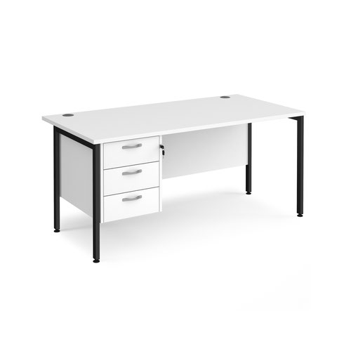 Maestro 25 straight desk 1600mm x 800mm with 3 drawer pedestal - black H-frame leg and white top