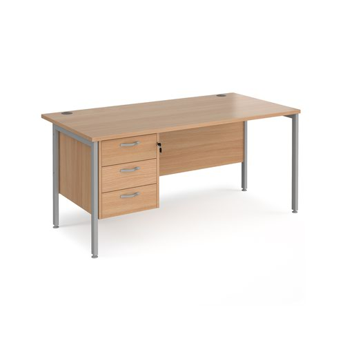 Maestro 25 straight desk 1600mm x 800mm with 3 drawer pedestal - silver H-frame leg and beech top
