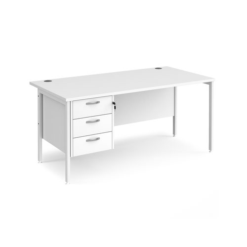 Maestro 25 straight desk 1600mm x 800mm with 3 drawer pedestal - white H-frame leg and white top