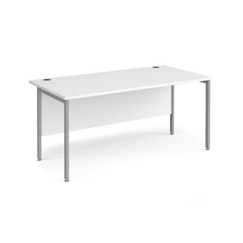 Maestro 25 straight desk 1600mm x 800mm - silver H-frame leg and white top