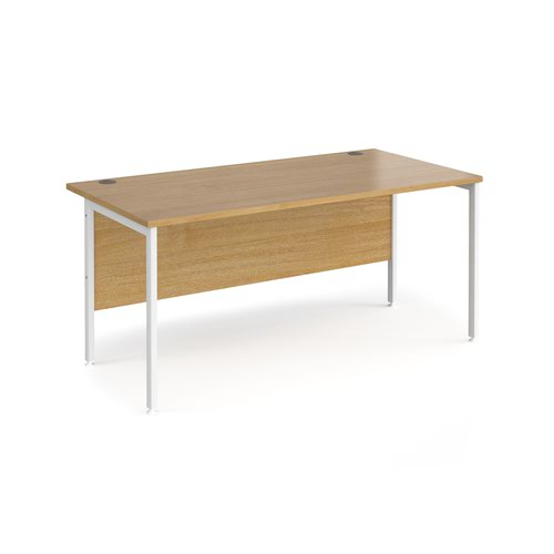 Maestro 25 straight desk 1600mm x 800mm - white H-frame leg and oak top