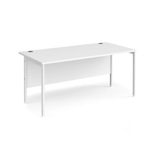 Maestro 25 straight desk 1600mm x 800mm - white H-frame leg and white top