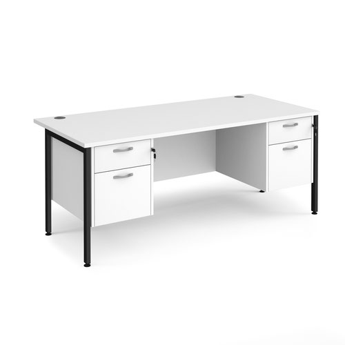 Maestro 25 straight desk 1800mm x 800mm with two x 2 drawer pedestals - black H-frame leg and white top