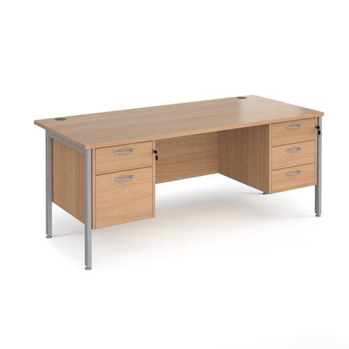 Maestro 25 straight desk 1800mm x 800mm with 2 and 3 drawer pedestals - silver H-frame leg and beech top