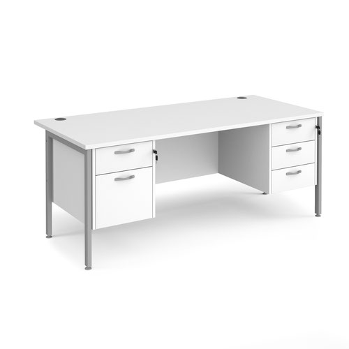 Maestro 25 straight desk 1800mm x 800mm with 2 and 3 drawer pedestals - silver H-frame leg and white top