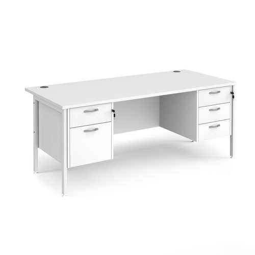 Maestro 25 straight desk 1800mm x 800mm with 2 and 3 drawer pedestals - white H-frame leg and white top
