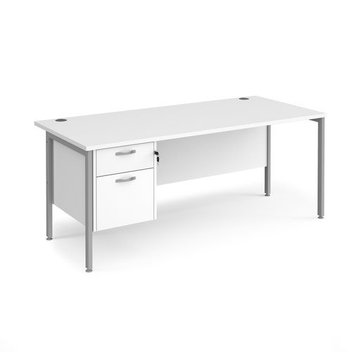 Maestro 25 straight desk 1800mm x 800mm with 2 drawer pedestal - silver H-frame leg and white top