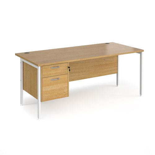 Maestro 25 straight desk 1800mm x 800mm with 2 drawer pedestal - white H-frame leg and oak top | MH18P2WHO | Dams International