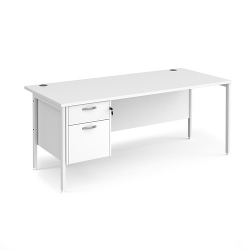 Maestro 25 straight desk 1800mm x 800mm with 2 drawer pedestal - white H-frame leg and white top
