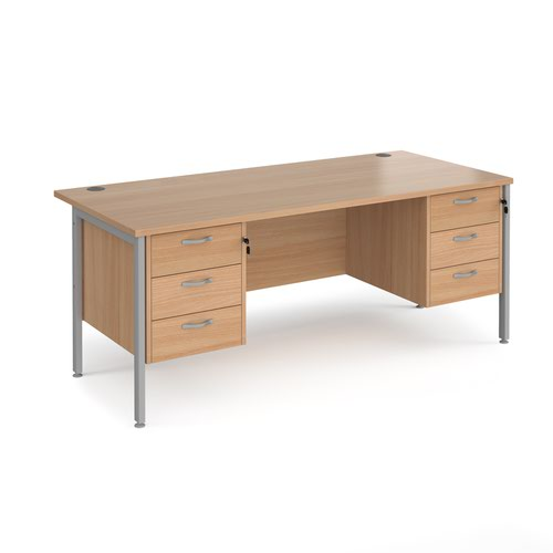 Maestro 25 straight desk 1800mm x 800mm with two x 3 drawer pedestals - silver H-frame leg and beech top
