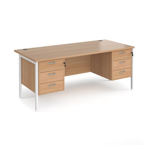 Maestro 25 straight desk 1800mm x 800mm with two x 3 drawer pedestals - white H-frame leg and beech top