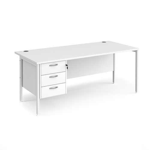Maestro 25 straight desk 1800mm x 800mm with 3 drawer pedestal - white H-frame leg and white top