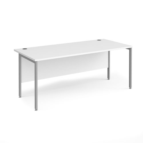 Maestro 25 straight desk 1800mm x 800mm - silver H-frame leg and white top