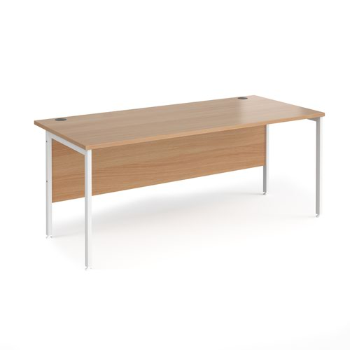 Maestro 25 straight desk 1800mm x 800mm - white H-frame leg and beech top
