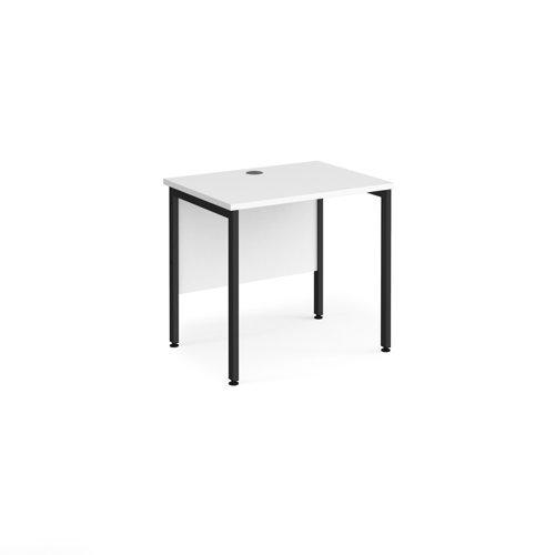 Maestro 25 straight desk 800mm x 600mm - black H-frame leg and white top