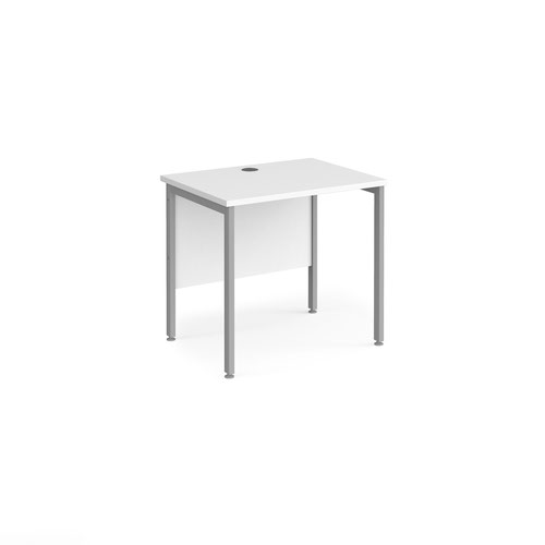 Maestro 25 straight desk 800mm x 600mm - silver H-frame leg and white top