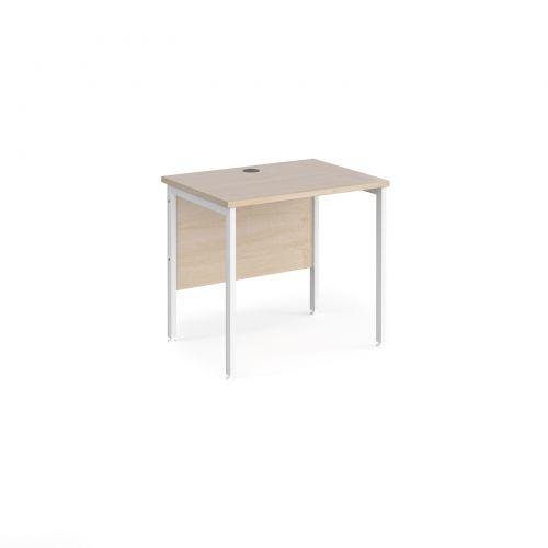 Maestro 25 straight desk 800mm x 600mm - white H-frame leg and maple top