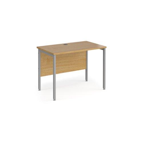 Maestro 25 straight desk 1000mm x 600mm - silver H-frame leg and oak top