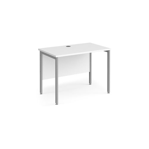 Maestro 25 straight desk 1000mm x 600mm - silver H-frame leg and white top