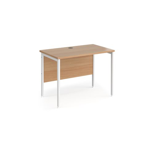 Maestro 25 straight desk 1000mm x 600mm - white H-frame leg and beech top