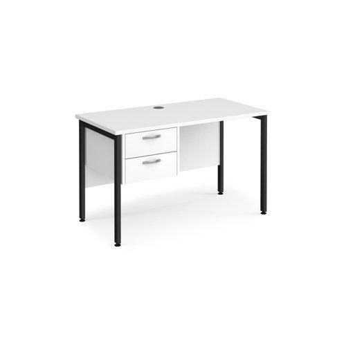 Maestro 25 straight desk 1200mm x 600mm with 2 drawer pedestal - black H-frame leg and white top