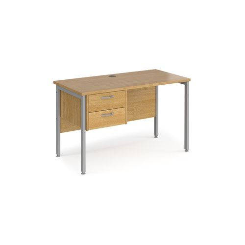 Maestro 25 straight desk 1200mm x 600mm with 2 drawer pedestal - silver H-frame leg and oak top