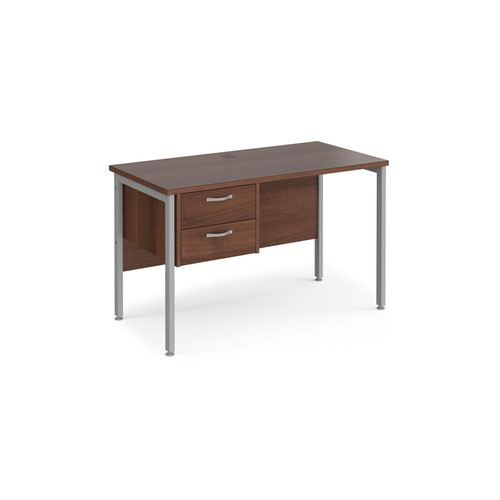Maestro 25 straight desk 1200mm x 600mm with 2 drawer pedestal - silver H-frame leg and walnut top