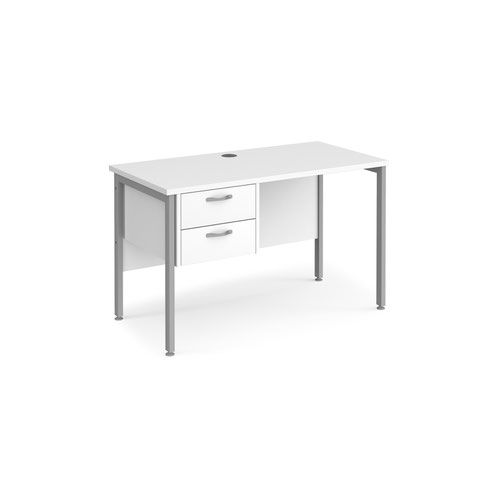 Maestro 25 straight desk 1200mm x 600mm with 2 drawer pedestal - silver H-frame leg and white top