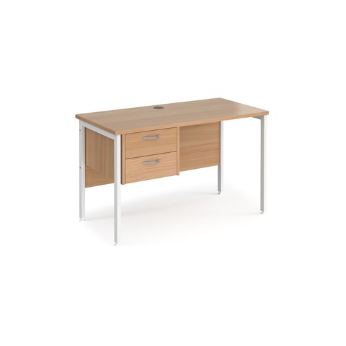 Maestro 25 straight desk 1200mm x 600mm with 2 drawer pedestal - white H-frame leg and beech top