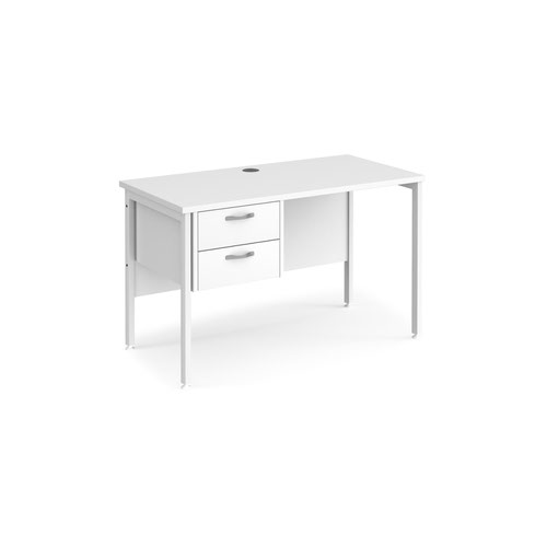 Maestro 25 straight desk 1200mm x 600mm with 2 drawer pedestal - white H-frame leg and white top