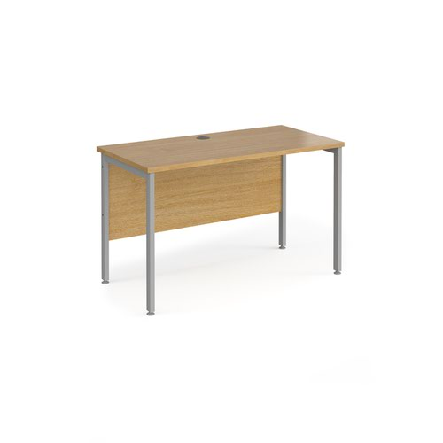 Maestro 25 straight desk 1200mm x 600mm - silver H-frame leg and oak top