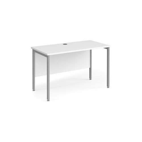 Maestro 25 straight desk 1200mm x 600mm - silver H-frame leg and white top