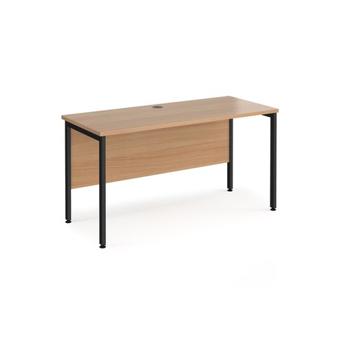 Maestro 25 straight desk 1400mm x 600mm - black H-frame leg and beech top