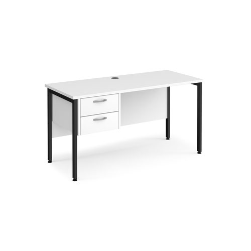 Maestro 25 straight desk 1400mm x 600mm with 2 drawer pedestal - black H-frame leg and white top