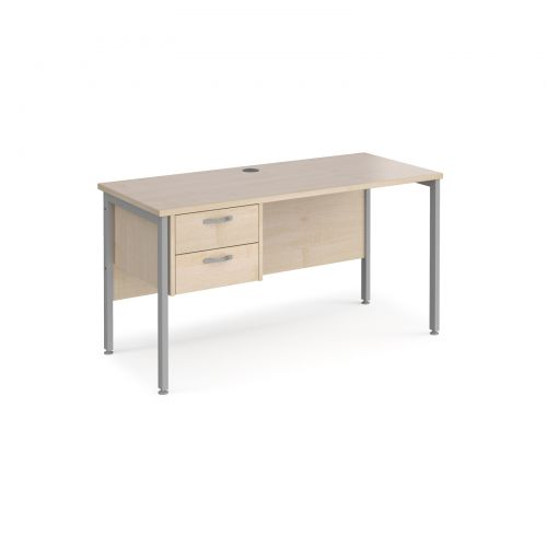 Maestro 25 straight desk 1400mm x 600mm with 2 drawer pedestal - silver H-frame leg and maple top