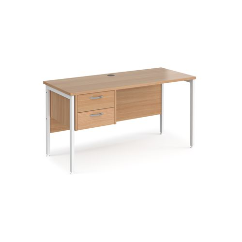 Maestro 25 straight desk 1400mm x 600mm with 2 drawer pedestal - white H-frame leg and beech top